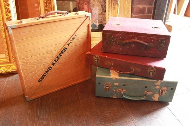 81 ガラクタ市 セール りんご箱 小引出し レコードケース ボックス