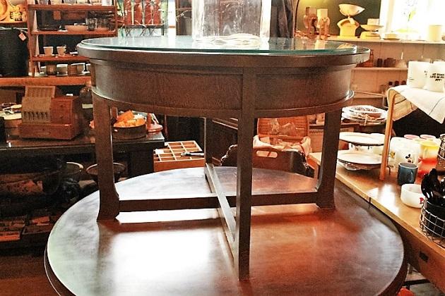 81 木製の丸テーブル 大正 昭和 レトロ