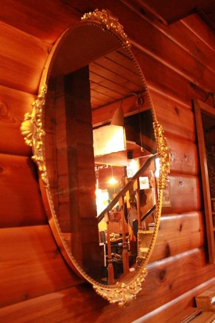 81 鏡 オーバル型 洋風装飾 デザイン ロココ調 真鍮 フレーム アイアン
