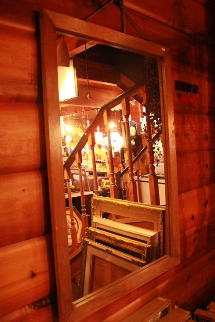 81 鏡 スクエア型 木製 フレーム