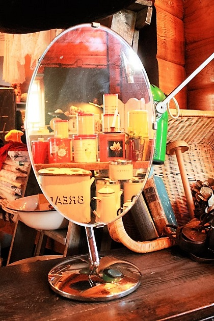 81 スタンドミラー 鏡 真鍮 シルバー