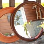 81 鏡 大特集 柳宗理 秋田木工 丸型 円 フレーム 木製 洋風 デザイン ロココ調 彫刻 手鏡 アンティーク