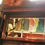 81 棚 鏡台付き 昭和レトロ ミシン脚 テーブル